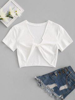 Raw Hem Cropped Twisted Front Tee - White