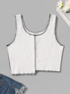 Cropped Ribbed Contrast Stitching Tank Top - White S