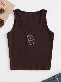 Mushroom Rhinestone Ribbed Tank Top - Coffee S