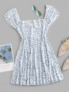 Ditsy Print Square Neck Tiered Dress - Light Blue S