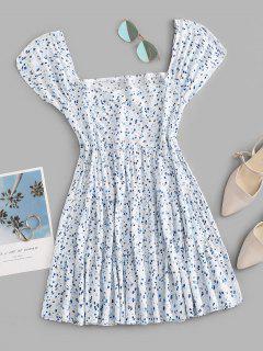 Robe Superposée Fleurie Imprimée à Col Carré - Bleu Clair M