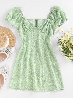 ZAFUL Ditsy Print Puff Sleeve Slit Mini Dress - Light Green Xl