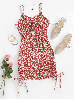 Robe Moulante Découpée Plissée Fleur Imprimée - Rouge M