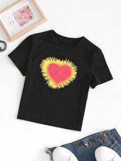 T-shirt Graphique Court Cœur Saint-Valentin - Noir L