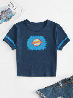 Ribbed Cropped Planet Graphic Tee - Deep Blue S