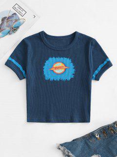 T-Shirt Corta A Costine Con Grafica Di Pianeta - Profondo Blu M