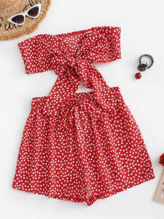 Set Di Pantaloncini Floreali A Fascia Con Fiocco - Rosso M