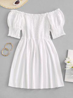 Smocked Ruffle Puff Sleeve Mini Dress - White M