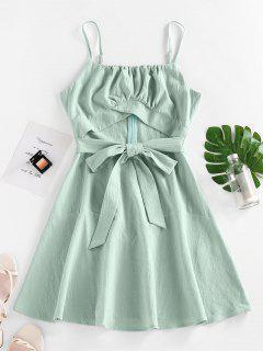 ZAFUL Cutout Bowknot Mini Dress - Green M