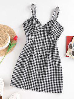 ZAFUL Gingham Mock Button Lettuce Trim Dress - Black S
