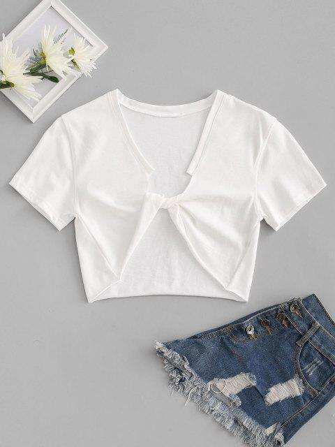 latest Raw Hem Cropped Twisted Front Tee - WHITE ONE SIZE Mobile