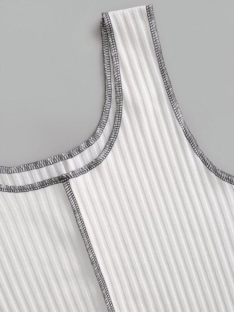 Débardeur Court Côtelé à Couture Contrastante - Blanc L Mobile