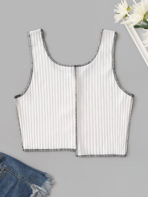trendy Cropped Ribbed Contrast Stitching Tank Top - WHITE M Mobile