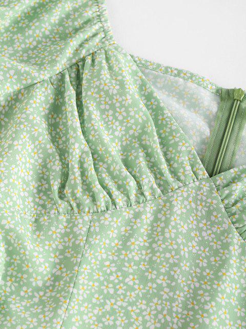 ZAFUL Mini-Robe Fendue Fleurie Imprimée à Manches Bouffantes - Vert clair XL Mobile