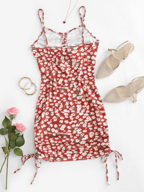 shop Flower Print Cinched Cutout Bodycon Dress - RED M Mobile