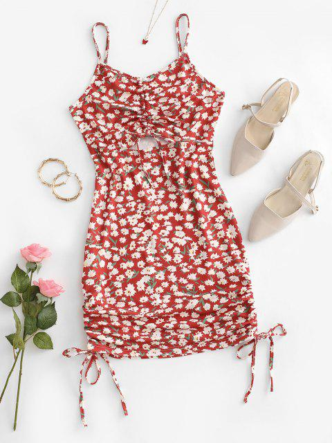women Flower Print Cinched Cutout Bodycon Dress - RED S Mobile