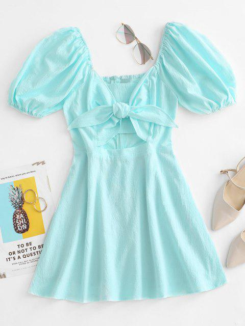 outfit Tied Puff Sleeve Cutout Mini Dress - LIGHT GREEN M Mobile
