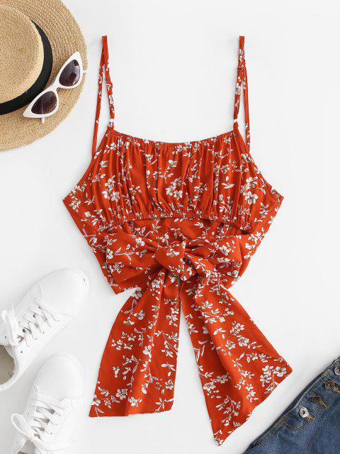 trendy Flower Ruched Tie Back Crop Camisole - RED S Mobile