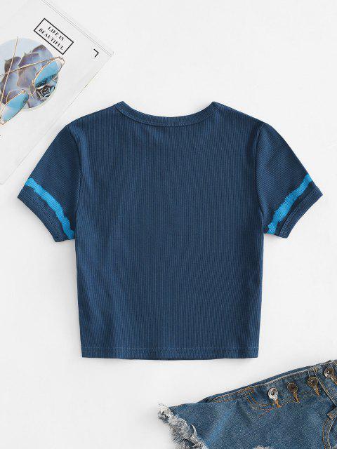 Camiseta Rugosa Enlaçada com Corte Gráfico - Azul Escuro S Mobile