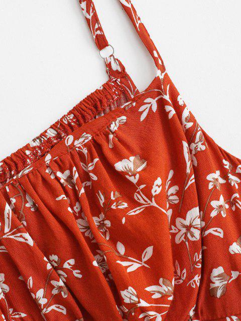 Camisole Courte Fleur Noué Au Dos à Volants - Rouge XS Mobile