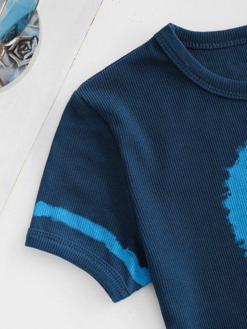 T-Shirt Corta a Costine con Grafica di Pianeta - Profondo blu M Mobile