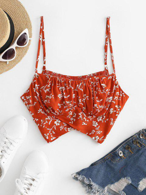 chic Flower Ruched Tie Back Crop Camisole - RED L Mobile