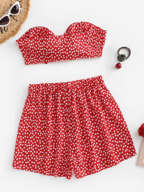 shops Floral Bowknot Bandeau Loose Shorts Set - RED S Mobile