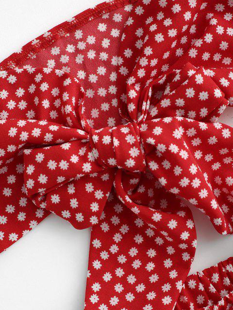 lady Floral Bowknot Bandeau Loose Shorts Set - RED M Mobile