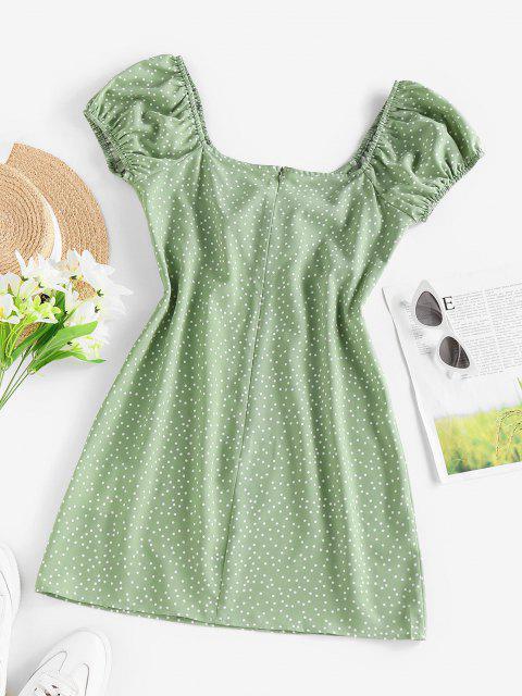 lady ZAFUL Polka Dot Cinched Puff Sleeve Mini Dress - LIGHT GREEN M Mobile