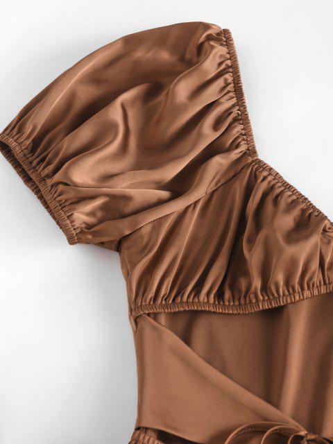 Mini-Robe Soyeuse Plissée Découpée Nouée en Avant - café XL Mobile