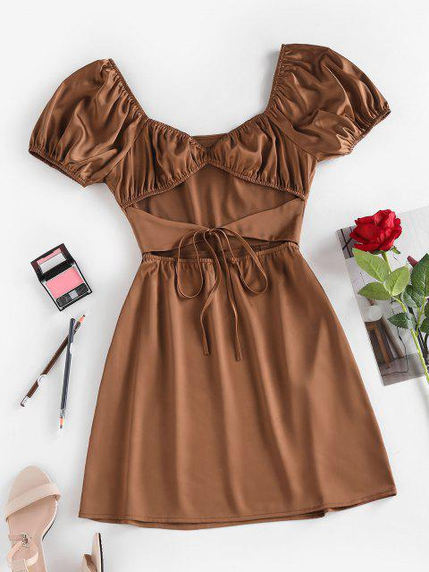 unique Silky Cut Out Tie Front Ruched Mini Dress - COFFEE M Mobile