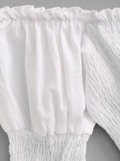 unique Smocked Ruffle Puff Sleeve Mini Dress - WHITE S Mobile