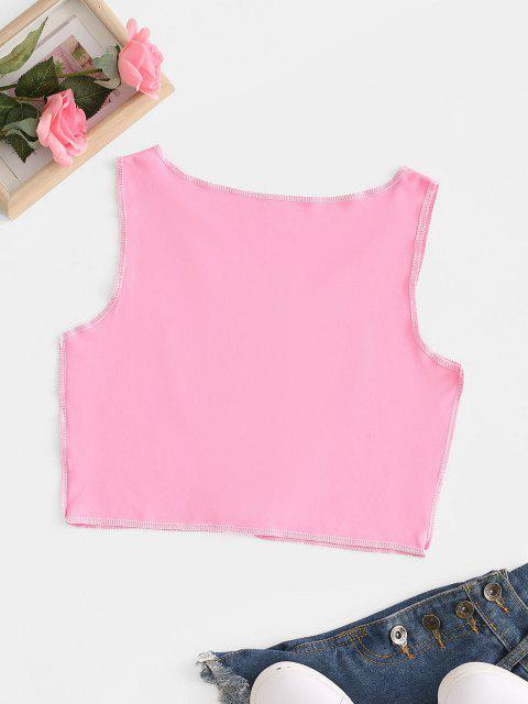 chic Contrast Heart Stitching Safety Pins Crop Top - LIGHT PINK L Mobile