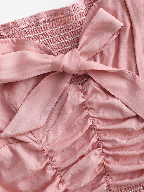ladies Bowknot Puff Sleeve Ruched Smocked Blouse - LIGHT PINK M Mobile