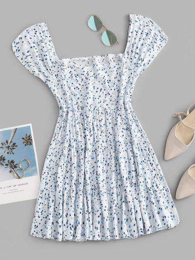 Ditsy Print Square Neck Tiered Dress - Light Blue L