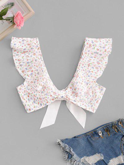 Ditsy Print Ruffle Knottd Tie Back Crop Blouse - Light Pink M