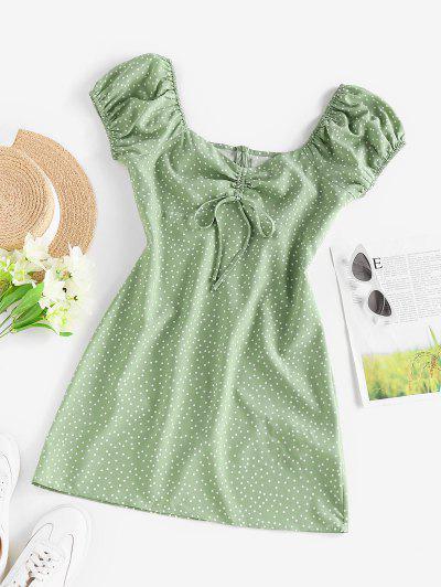 ZAFUL Polka Dot Cinched Puff Sleeve Mini Dress - Light Green M