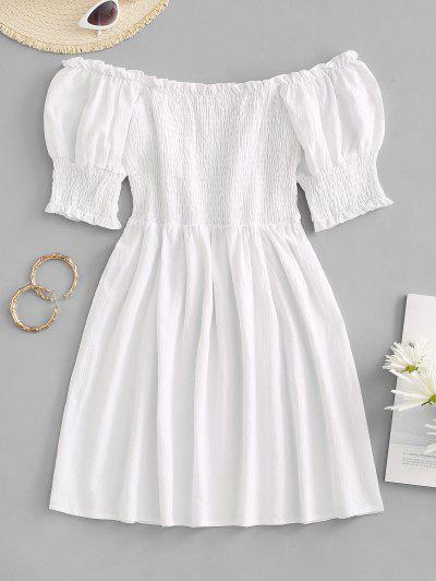 Smocked Ruffle Puff Sleeve Mini Dress - White S