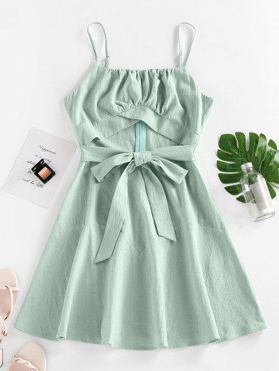 ZAFUL Cutout Bowknot Mini Dress - Green S