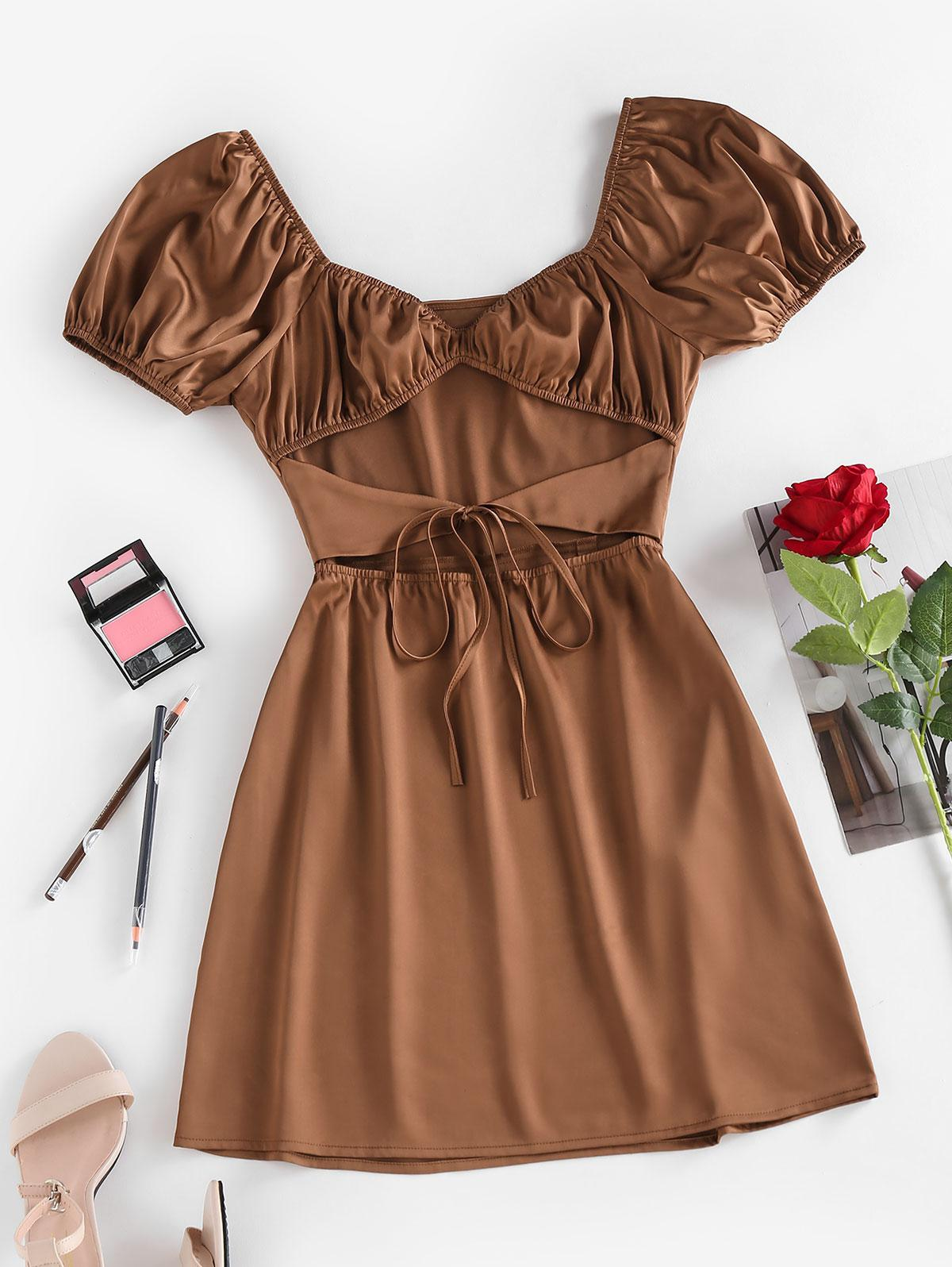 Silky Cut Out Tie Front Ruched Mini Dress