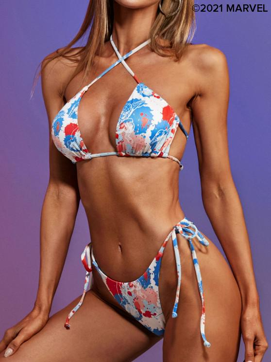 hot Marvel Spider-Man Paint Splatter Print Ribbed Padded Bikini Set - BLUE S