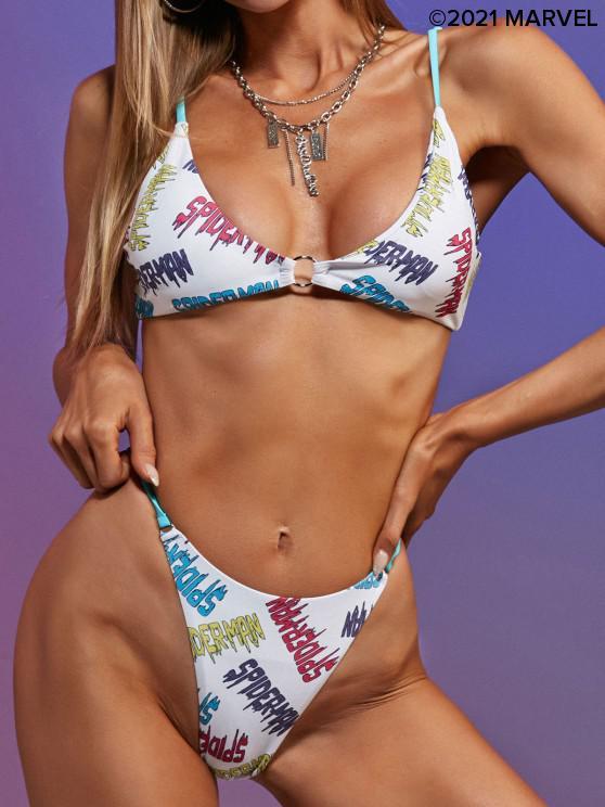 shops Marvel Spider-Man Letter Print O-ring Padded Bikini Set - MULTI M