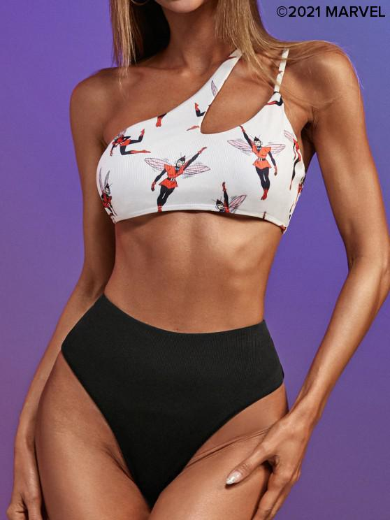 ladies Marvel Wasp Print One Shoulder Ribbed Bikini Set - BLACK M