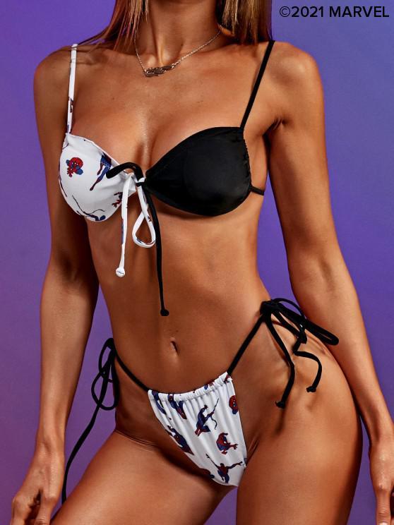 outfits Marvel Spider-Man Bowknot Thong String Bikini Swimwear - BLACK S