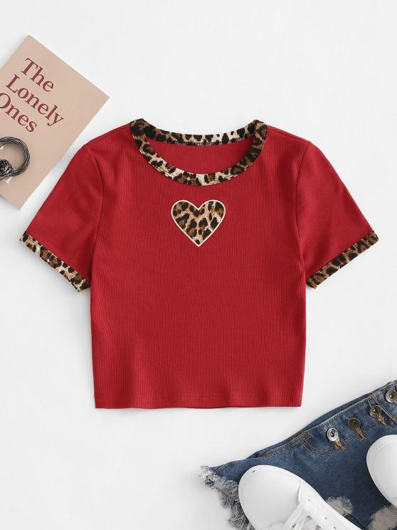 fancy Valentine Leopard Piping Heart Embroidered Tee - RED M