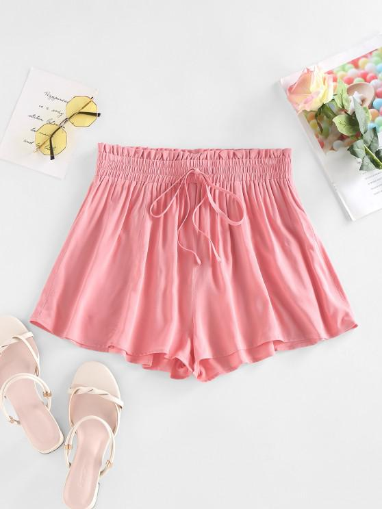 affordable ZAFUL Frilled Tied Detail Wide Leg Shorts - LIGHT PINK M