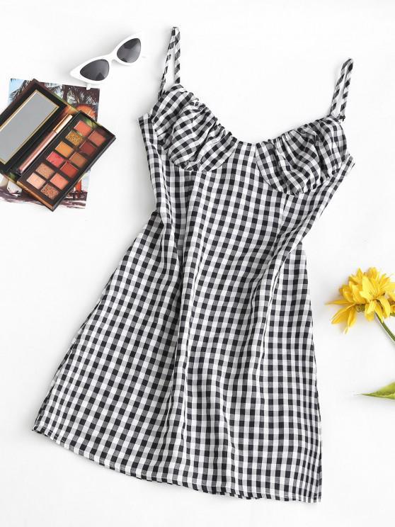 fashion Cami Gingham Bustier Mini Dress - BLACK S