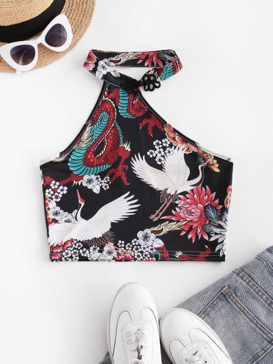 outfits Frog Fastener Floral Oriental Crane Dragon Crop Top - BLACK S