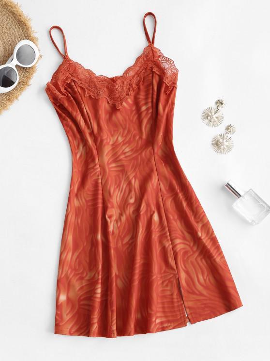 unique Tie Dye Lace Trim Front Slit Mini Dress - RED S