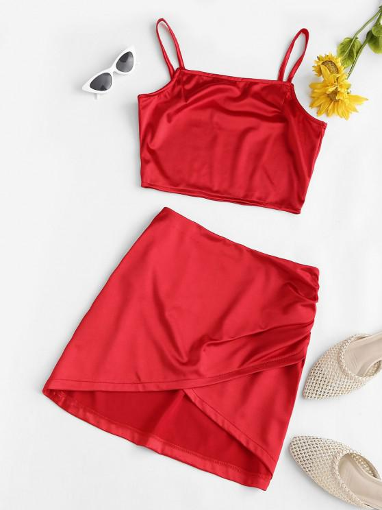 affordable Silky Cropped Ruched Overlap Skirt Set - RED S